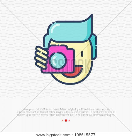 Photographer thin line icon, man is holding camera near his face. Vector illustration for logo.