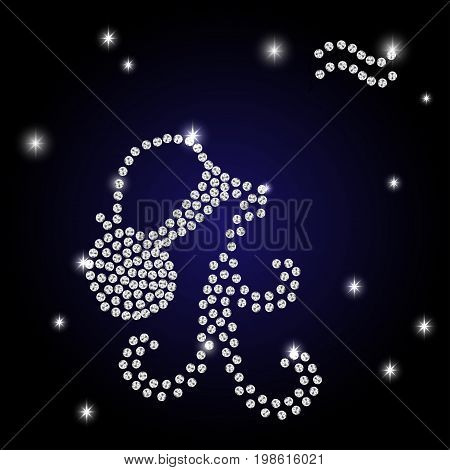 Sign of the zodiac Aquarius is the starry sky vector Illustration. Contour icon.