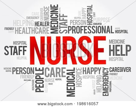 Nurse Word Cloud Collage, Health Concept Background