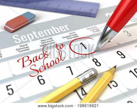 Back to School concept - Red pen mark on the calendar 1 september. 3d illustration