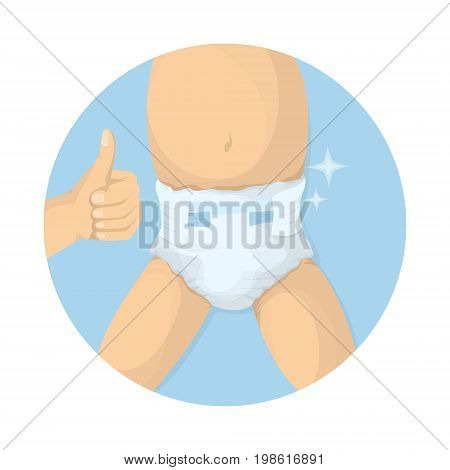 Changing diapers illustration. Adult hands with kid's body. Baby care.