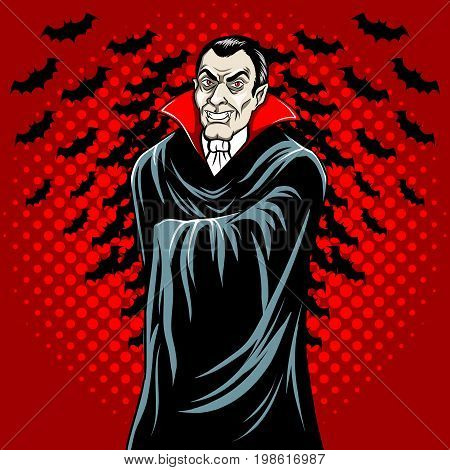 Vampire guy fairy tale character comic book pop art retro style vector illustration.