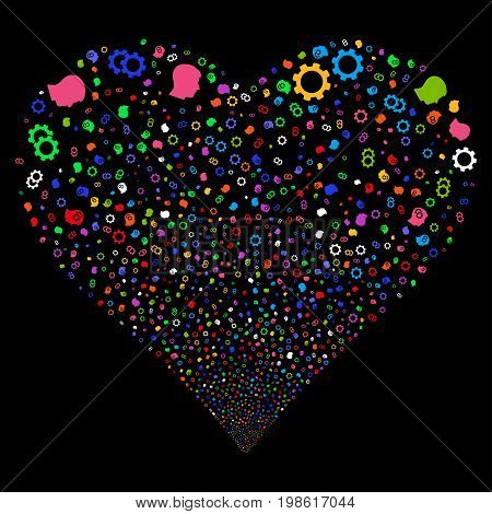 Intellect Gears fireworks with heart shape. Vector illustration style is flat bright multicolored iconic symbols on a black background. Object love heart created from random pictographs.
