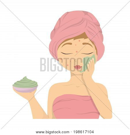 Woman with facial mask. Isolated woman in towels applying mask on face.