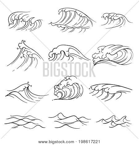 Hand drawn ocean waves vector set. Sea storm wave isolated. Nature wave water storm linear style illustration
