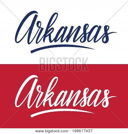 Handwritten U.S. state name Arkansas. Calligraphic element for your design. Vector illustration.