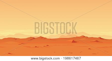 Martian orange landscape background tileable horizontally, sand hills with stones on a deserted planet