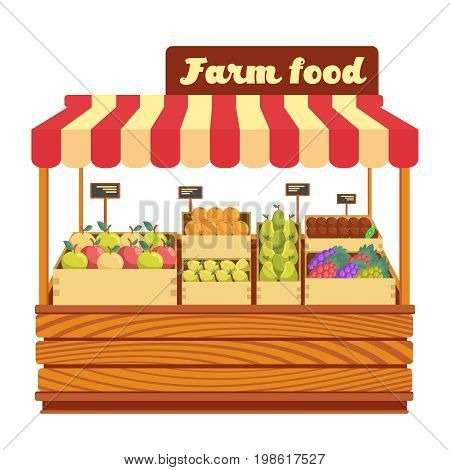 Market wood stand with farm food and vegetables in box vector illustration. Wood market stand with fresh organic fruits