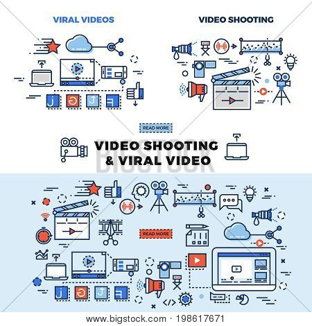 Viral video and video shooting information page. Viral video for internet marketing llustration
