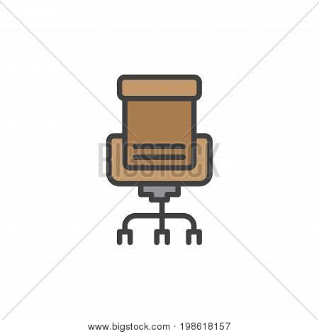 Executive seat filled outline icon, line vector sign, linear colorful pictogram isolated on white. Office chair Symbol, logo illustration. Pixel perfect vector graphics
