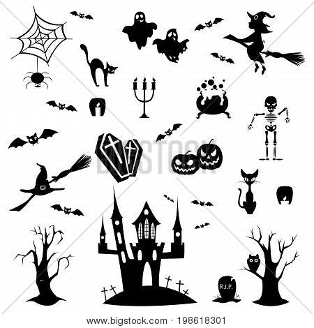 Halloween doodles set on white background. Spooky ghost and pumpkin, witch and castle.