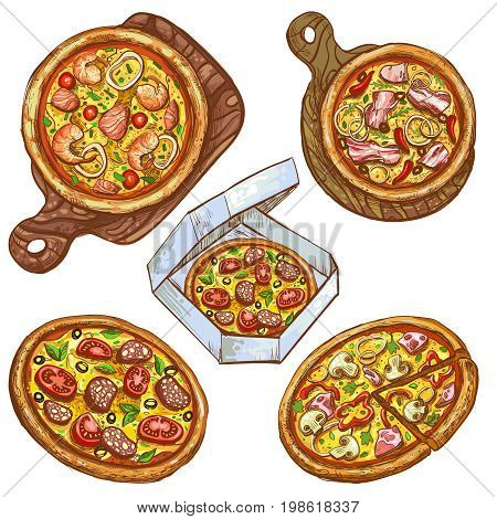 Set of vector color illustrations, whole pizza and slice, pizza on wooden board, pizza in box for delivery. Prints, templates, design elements for menu, signage, advertisement, isolated