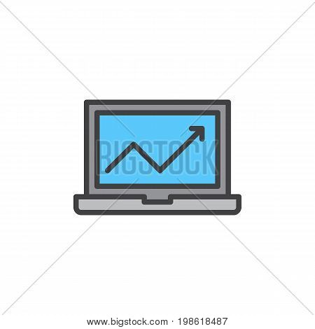 Laptop with chart filled outline icon, line vector sign, linear colorful pictogram isolated on white. Symbol, logo illustration. Pixel perfect vector graphics