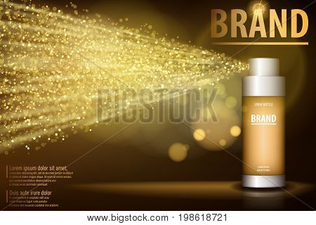 Gold spray bottle isolated on black background for your design. Realistic cosmetic premium ads, facial treatment essence. Vector illustration. 3D gold toner, translucent contained.