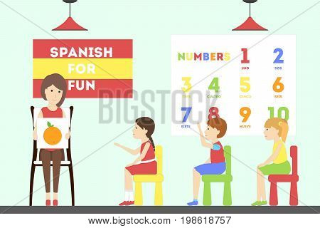 Spanish language course. Children at the language school with teacher.