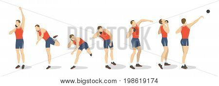 Shot put set. Set of athlete's rutting of the shot.