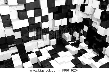 Abstract beautiful creative background of black white random extended and dented cubes corner of two intersection walls and floor with reflections for desktop site banner. 3d Render
