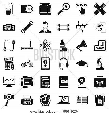 Season training icons set. Simple style of 36 season training vector icons for web isolated on white background
