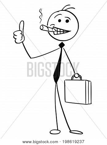 Cartoon vector stick man illustration of successful businessman or seller with big cigar and briefcase smiling and showing thumbs up gesture.