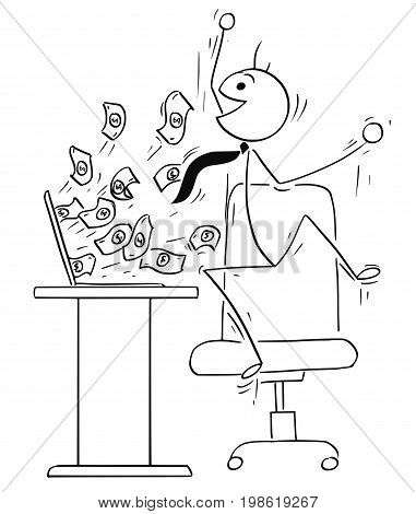 Cartoon vector stick man illustration of happy male businessman jumping because of successful online business money coming from the computer screen.