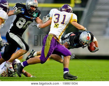 Innsbruck, Austria - July 5: The Tirol Raiders win the European Football League against the Vienna Vikings.