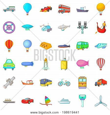 Moving transport icons set. Cartoon style of 36 moving transport vector icons for web isolated on white background