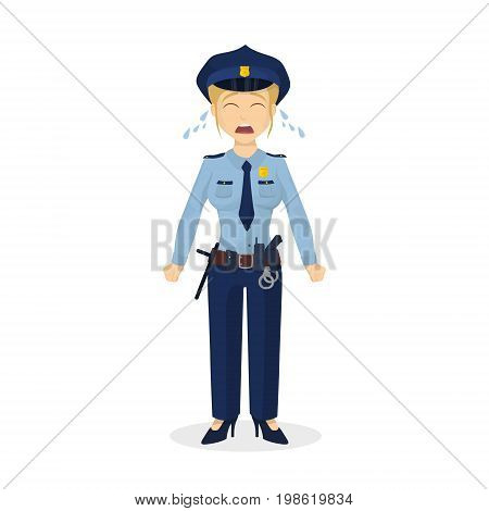 Isolated crying policewoman with tears on white background.