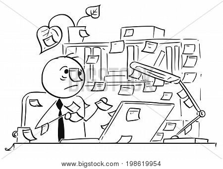 Cartoon vector illustration of forgetful stick man office workerclerk businessman with paper stick notes everywhere around his office table and computer also on his head.