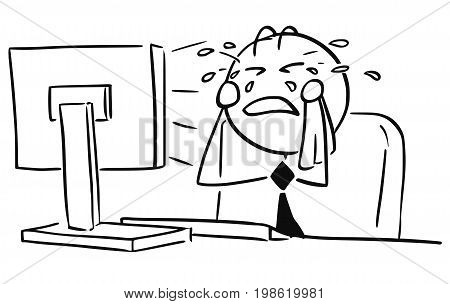 Cartoon vector illustration of stick man office worker clerk manager businessman or programmer crying in front of the computer screen.