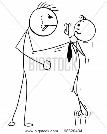 Cartoon vector illustration of big angry stick man attacking businessman or salesman or boss with fist .