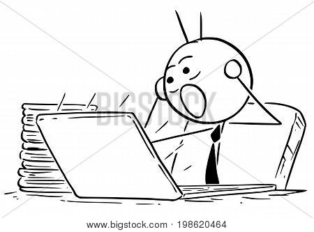 Cartoon vector illustration of stick man businessman salesman manager or clerk looking at computer screen and screaming terrified .