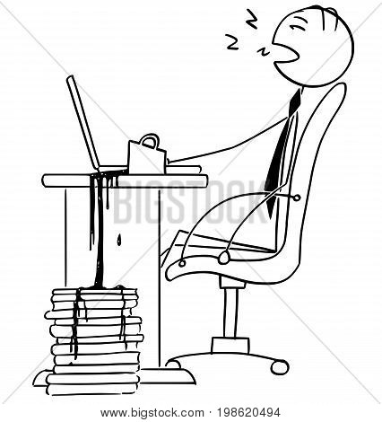 Cartoon vector illustration of tired stick man businessman office worker manager sleeping in the chair on the office in front of the computer with cup of coffee toured out on files.