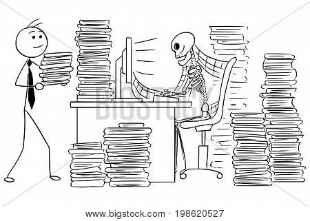 Cartoon vector illustration of forgotten human skeleton of dead businessman or clerk sitting in front of computer in office with files and spider webs all around.