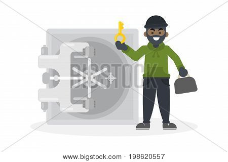 Thief robbing safe. African american thief with key robbing the money safe.