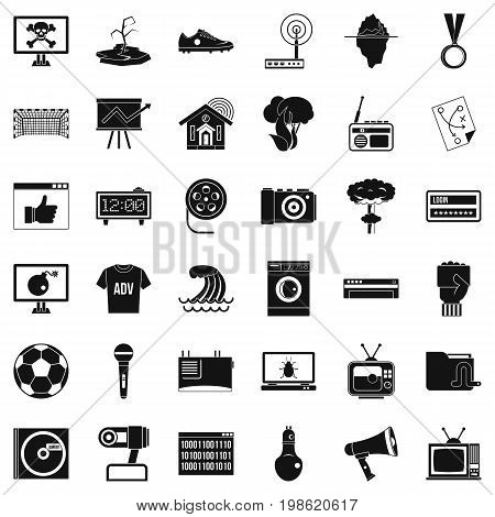 TV icons set. Simple style of 36 tv vector icons for web isolated on white background