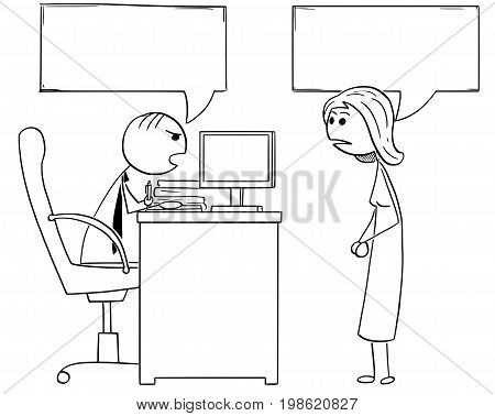 Cartoon illustration of stick man manager boss sitting in his office and talking to female employee.Two empty speech bubbles or balloons above their heads.