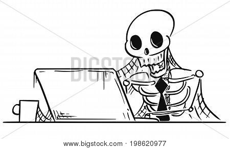 Cartoon vector illustration of forgotten human skeleton of dead businessman or clerk sitting in front of computer with spider webs all around.