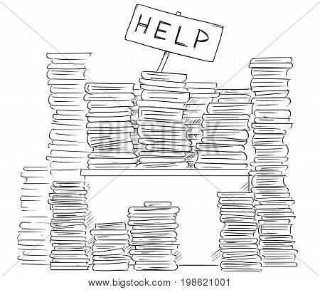 Cartoon illustration of stick man businessman clerk or manager lost behind office files on his desk waving with help sign. poster