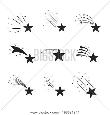 Abstract falling stars, meteoroid, asteroid with geometric star trail isolated on white background