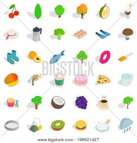 Vegetarian dish icons set. Isometric style of 36 vegetarian cafe vector icons for web isolated on white background