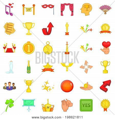 Victory in sport icons set. Cartoon style of 36 victory in sport vector icons for web isolated on white background