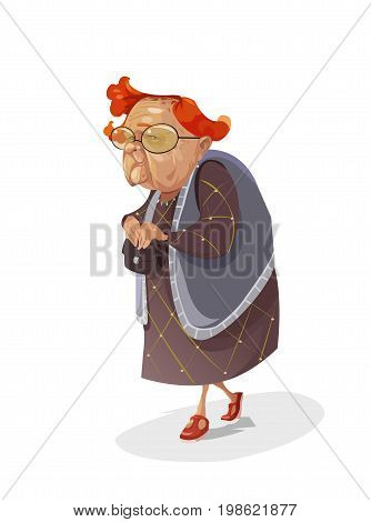 Digital vector funny comic cartoon old red hair insidious subtle grandmother with big glasses holding her purse and looking towards camera, abstract realistic flat style