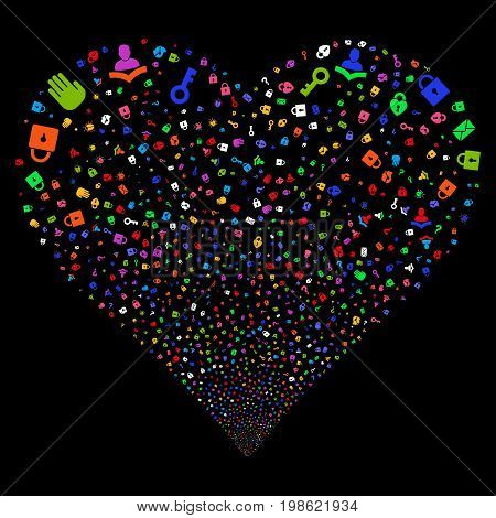 Secrecy Symbols fireworks with heart shape. Vector illustration style is flat bright multicolored iconic symbols on a black background. Object salute constructed from confetti pictographs.