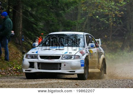 Lower Austria, Austria - November 8; Manfred Stohl wins the 27th Waldviertel Rallye in Lower Austria. Shown is Austrian Driver Wolfram Doberer.