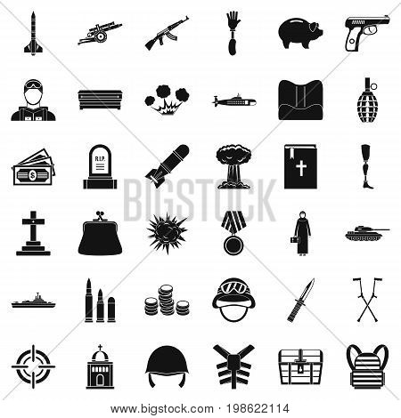 War gun icons set. Simple style of 36 war gun vector icons for web isolated on white background