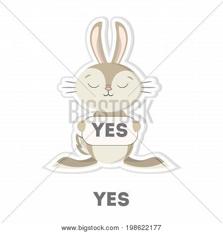 Isolated agreeing rabbit on white background. Funny cartoon emoji.