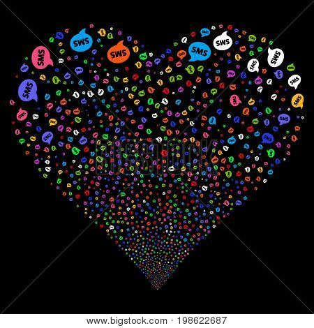 SMS fireworks with heart shape. Vector illustration style is flat bright multicolored iconic symbols on a black background. Object love heart done from scattered pictograms.