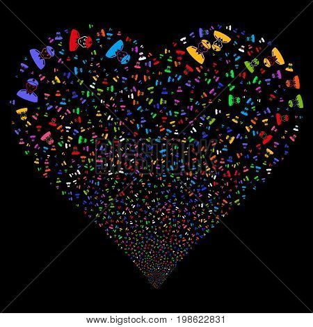 Soldier fireworks with heart shape. Vector illustration style is flat bright multicolored iconic symbols on a black background. Object love heart combined from scattered pictograms.