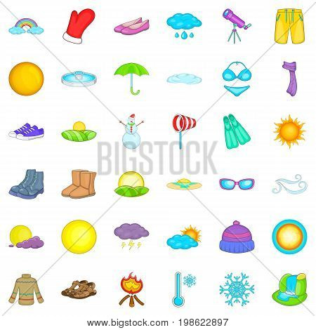 Cold weather icons set. Cartoon style of 36 cold weather vector icons for web isolated on white background