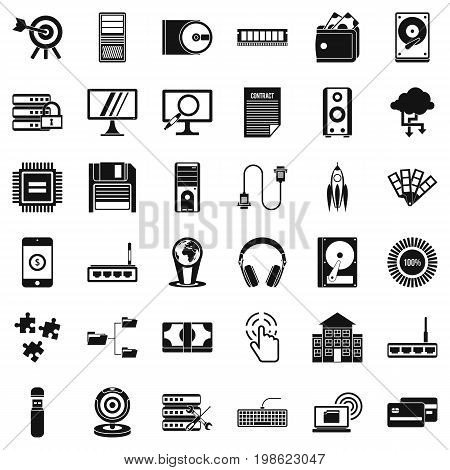Web operation icons set. Simple style of 36 web operation vector icons for web isolated on white background